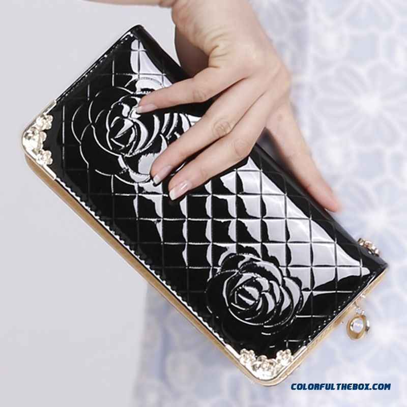 New Fashion Women's Small Hand Bags Tide Black Flower Print Metal Decorative Wallet Women