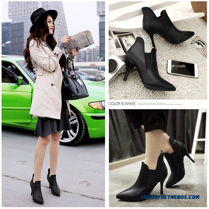 New Fine With High-heeled Short Women Pointed Shoes Vougue Black