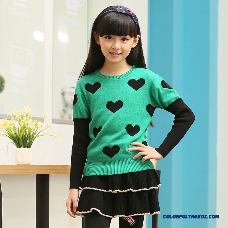 New Girls Big Kids Bottoming Bottoming Dress Korean Version Of Sweet Princess Sweathers Green