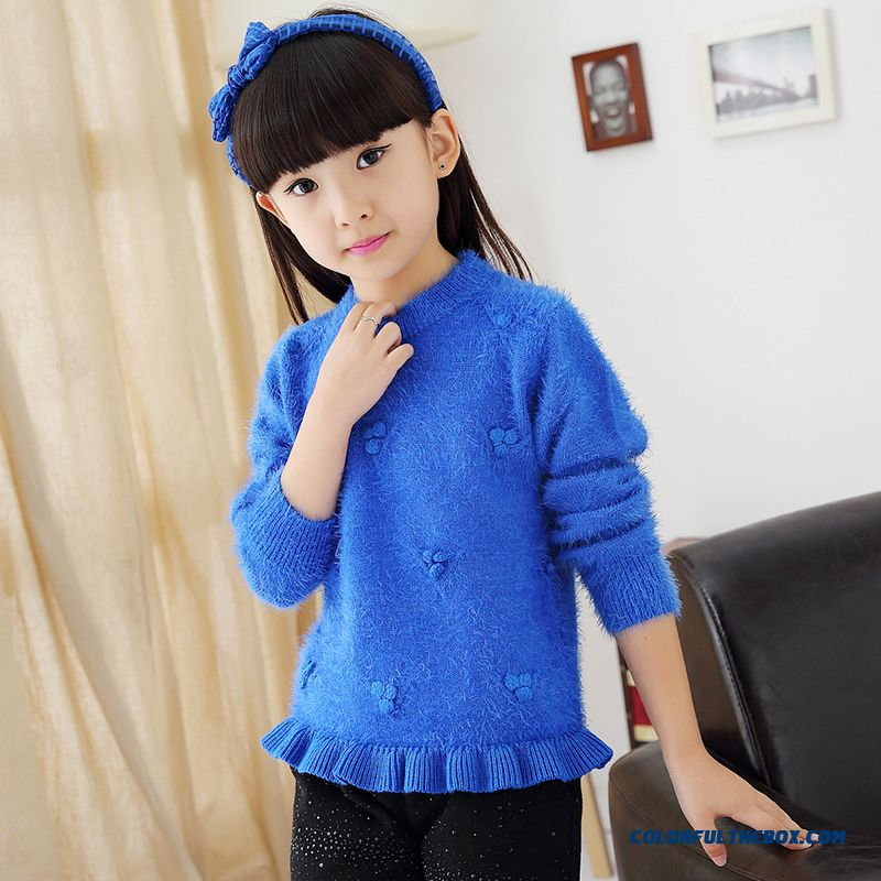 New Girls Blue Weater Kids Sweater Ultra-soft Mohair Sweater Bottoming Clothing