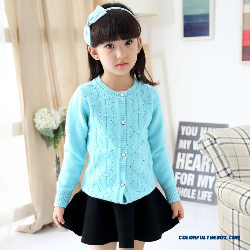 New Girls Cardigan Sweater Girls Big Kids Short Thick Sweater Coat Fashionable All-match Clothing Blue