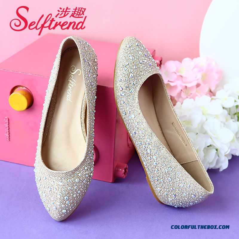 New Gold Silver Bright Surface Rhinestones Women Shallow Mouth Flat Shoes