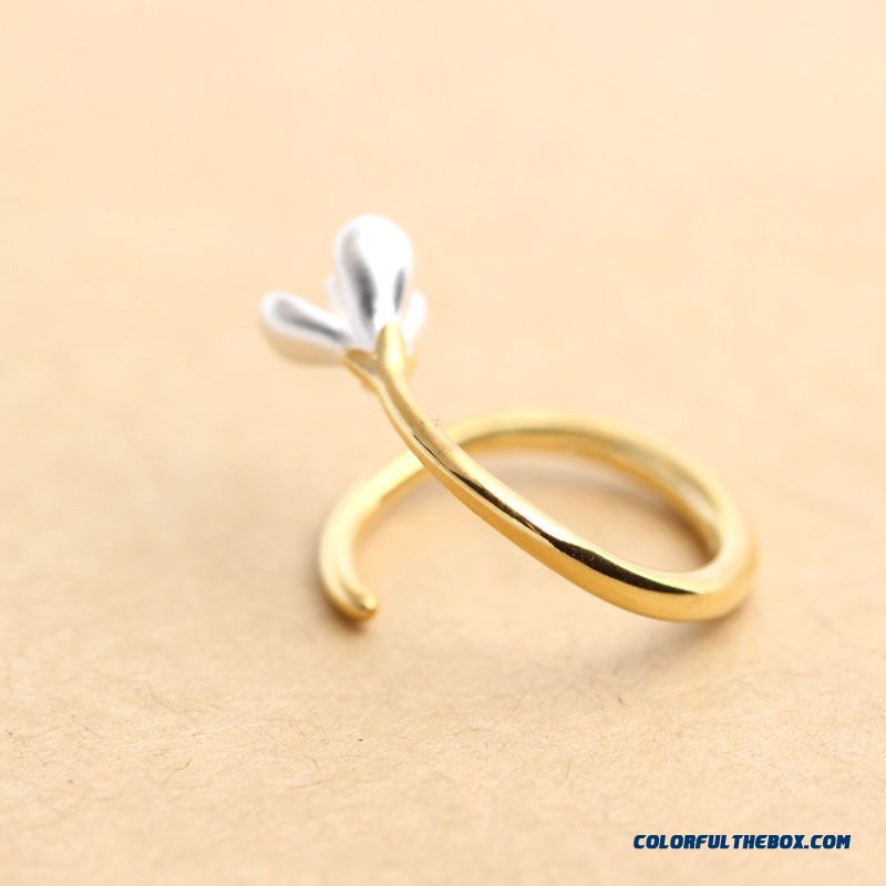 New Golden Magnolia Personalized Fashion Women Ring Opening Ring Tewelry