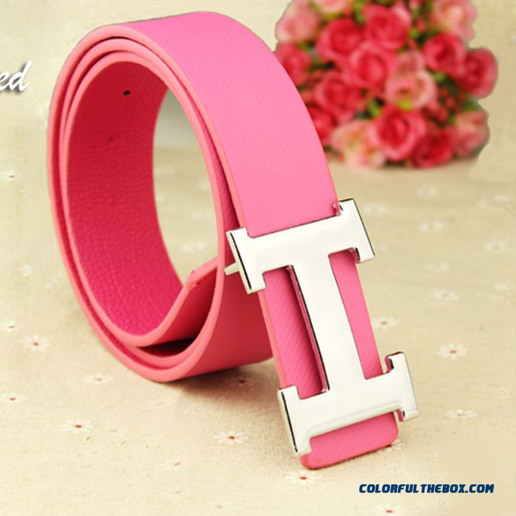 New H Buckle Men's Belt All-match Personality Letter Teenagers Women Smooth Buckle Waistband