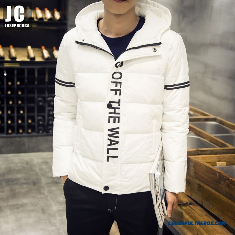 New High Quality Men Hooded Coats Fashion Short Thicken Large Size White