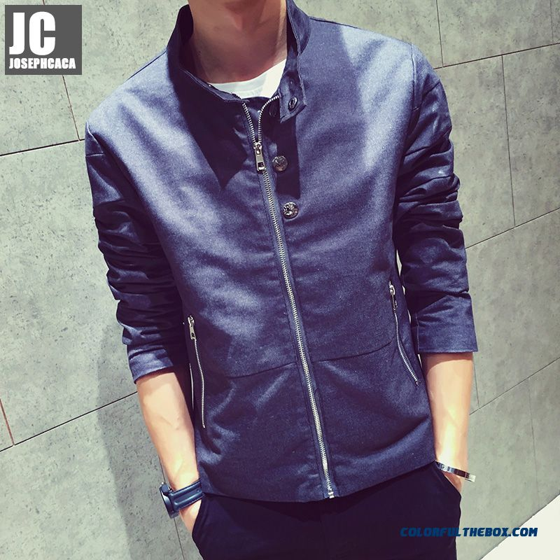 New High Quality Men Stand Collar Simple Young Grey Kahki Jacket
