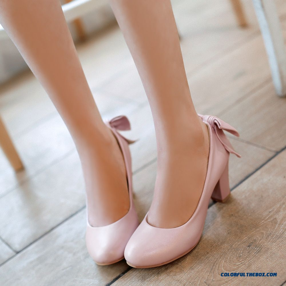 New High-heeled Women Shoes Breathable Rough Heel Sweet Bow-tie Round-toe Pumps