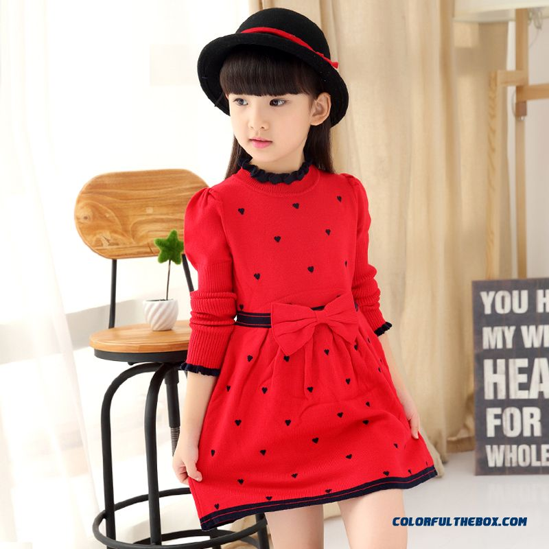 04e5801454c Cheap New High-necked Dress Girls Princess Dress Spring Models Sweater Dress  Double Lotus Leaf Kids Clothing Sale Online