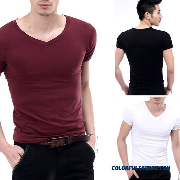 New Hot Fashion Men's V-neck Short Sleeve T-shirt Slim Basic Tee Top Xs-l Multicolor
