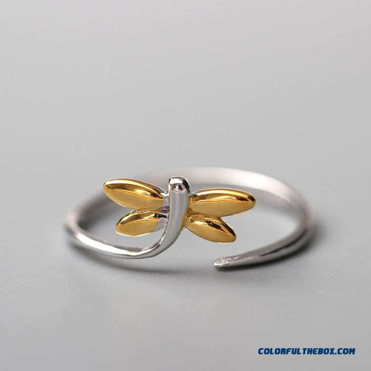 New Jewelry 925 Sterling Silver Factory Direct Korean Style Women Dragonflies Opening Ring