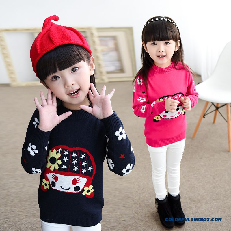 New Kids Clothing Girls Cartoon Coat Knit Primer Shirt Pullover Knit Sweater