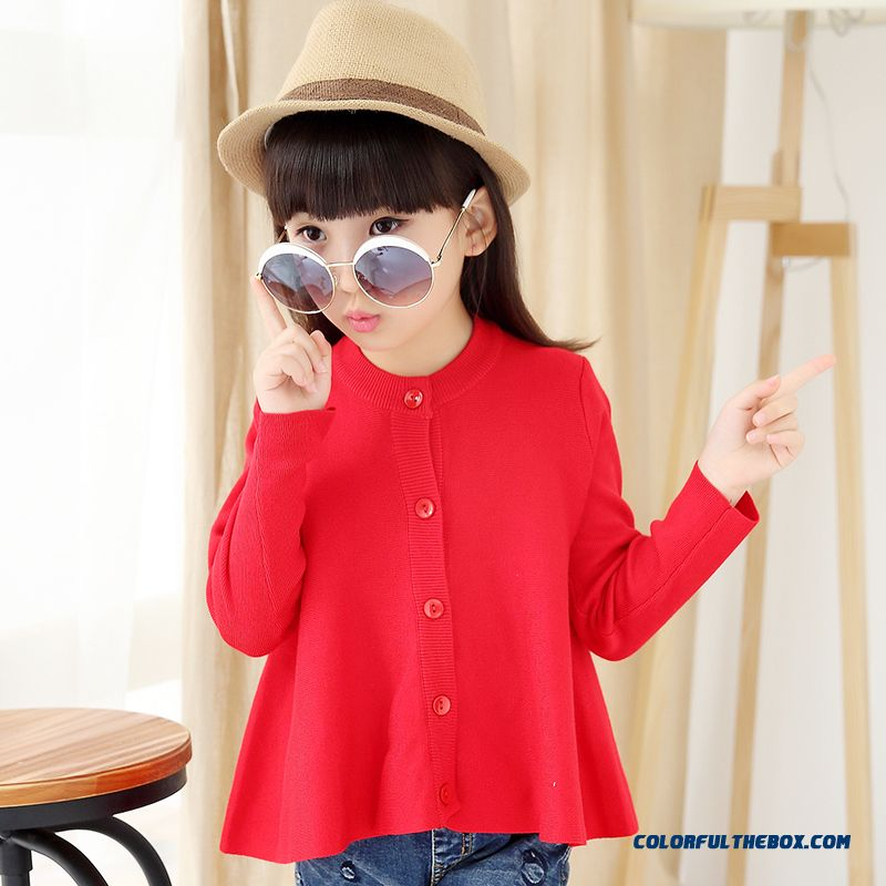 New Kids Clothing Girls Solid Color Cardigan Red Sweaters Boutique Fabrics