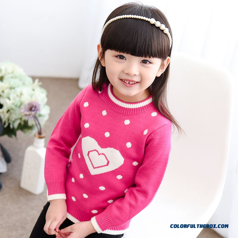 New Kids Clothing Pullover Knit Primer Shirt Girls Love Bot Knit Sweater Coat