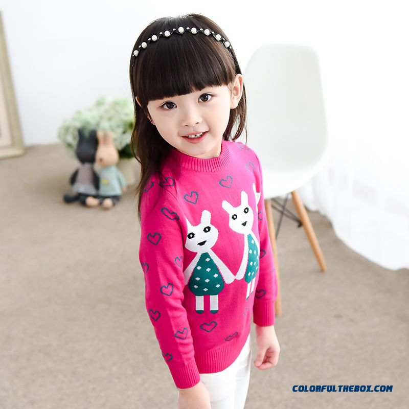 New Kids Clothing Sweater Jacket Girls Cartoon Cat Bottoming Pullover Sweater Pink Black