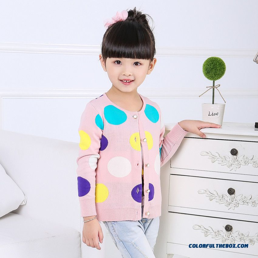 New Kids Clothing Sweater Round Neck Colorful Polka Dot Sweater Cardigan Girls