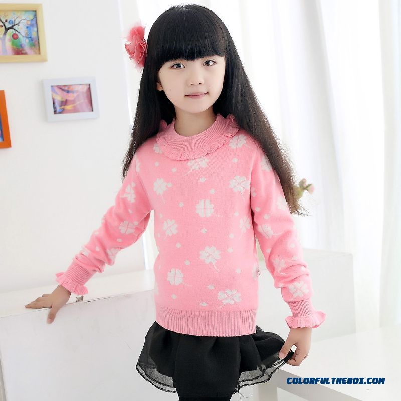 New Kids Winter Sweater Round Neck Sweater Thick Warm Kids Clothing Big Kids Pink Clothing