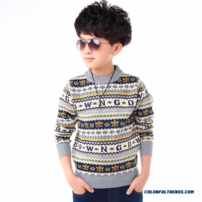 New Kids' Winter Thick Long-sleeved Sweater Round Neck Sweater Boy Sweater Pullover