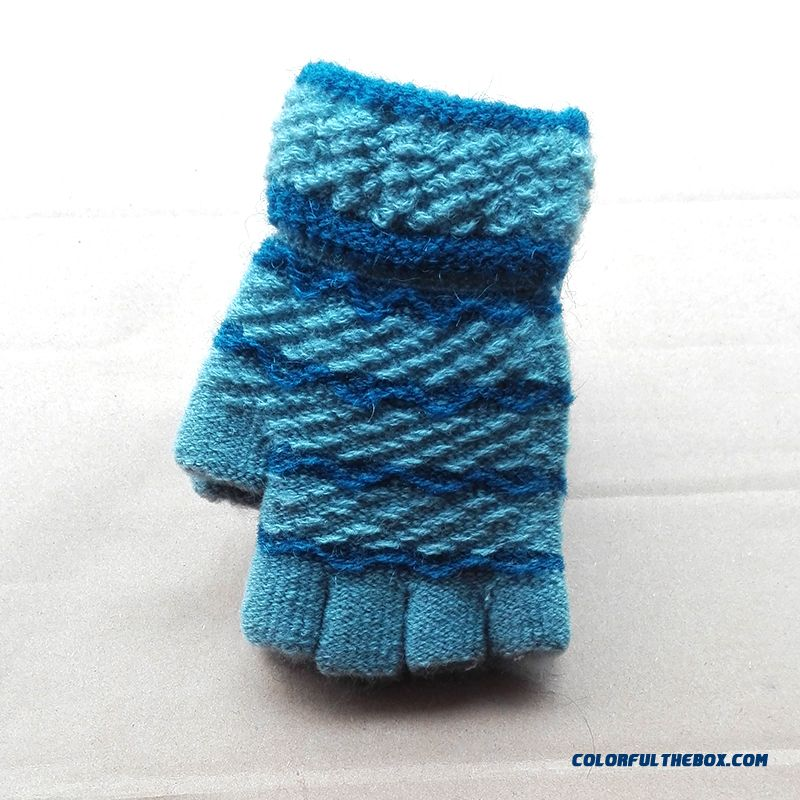 New Knit Cute Boys And Girls Pupils Kids Write Gloves Five Fingers Cheap Wimter Warmtn Acessories