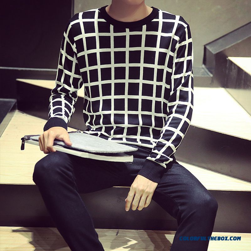 New Knitwear Round Neck Long-sleeved Plaid Sweaters Pull Blouson Bottoming Shirt Men Clothing