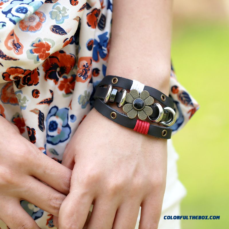 New Korean Version Around 3 Laps Beads Leather Bracelet Ladies Bracelet