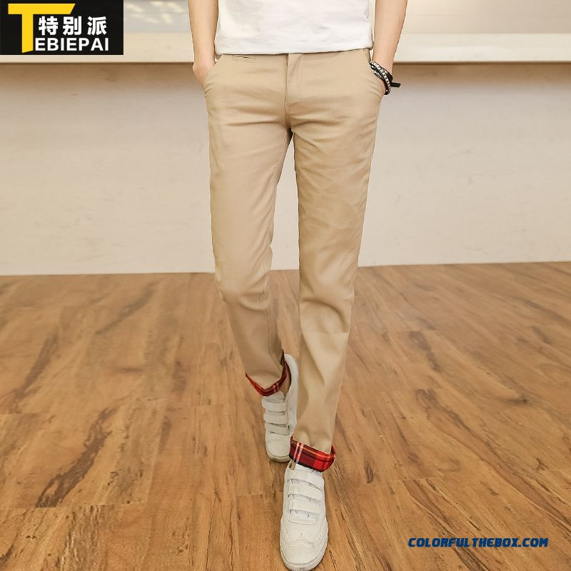 New Korean Version Of Casual Men's Clothing Straight Pants Khaki