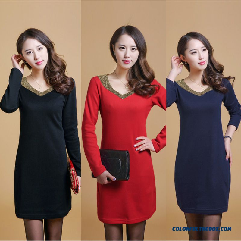 New Korean Vertion Long-sleeved T-shirt Knit Dress Special Offer For Women Blue Black Red