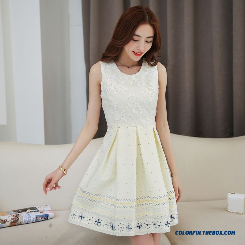 New Ladies Sleeveless Dress Lace Chiffon Summer Free Shipping
