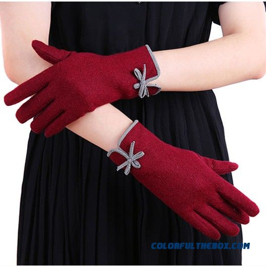 New Lady Upscale Double Thick Cashmere Gloves Elderly Women Mittens Gloves