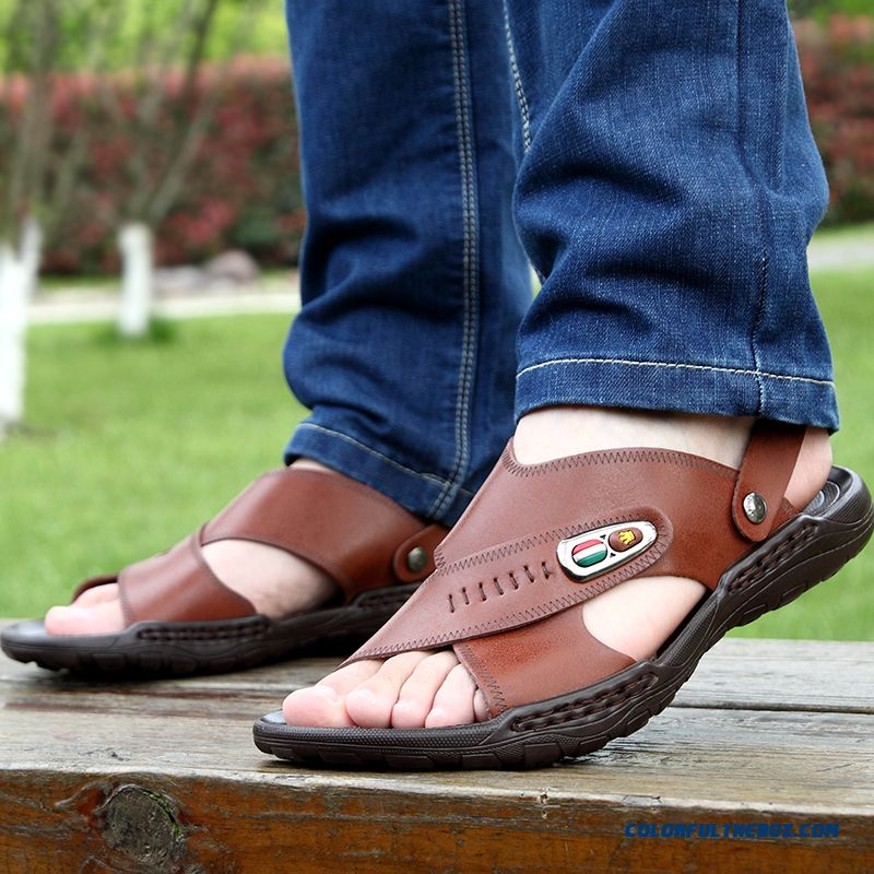 New Leather Beach Shoes Youth Open Toe Casual Men's Sandals - more images 1