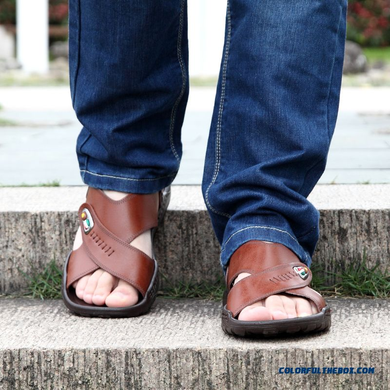 New Leather Beach Shoes Youth Open Toe Casual Men's Sandals - more images 3