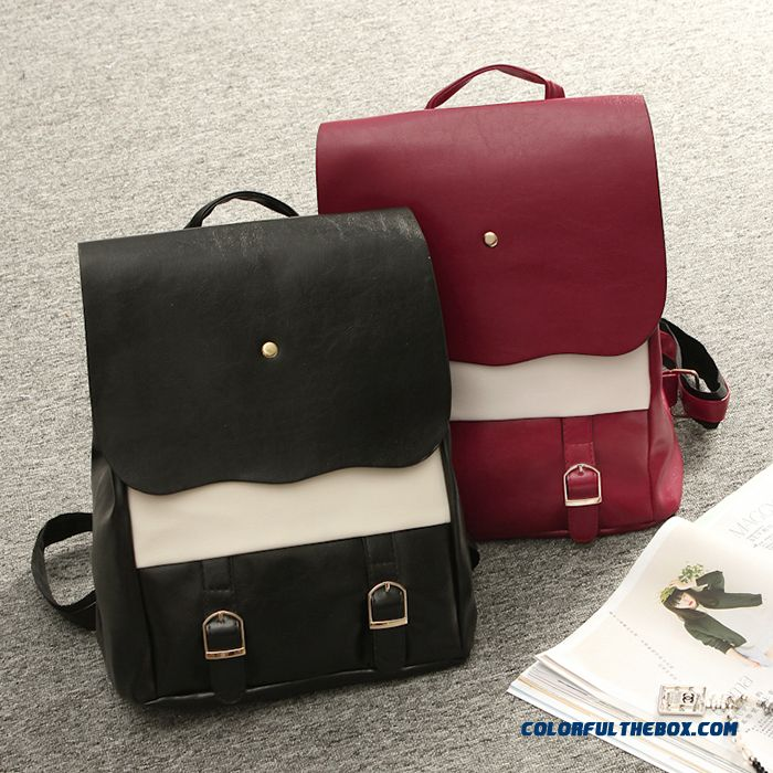New Leather Women Bag Casual Street Backpack Black Red Special Offer