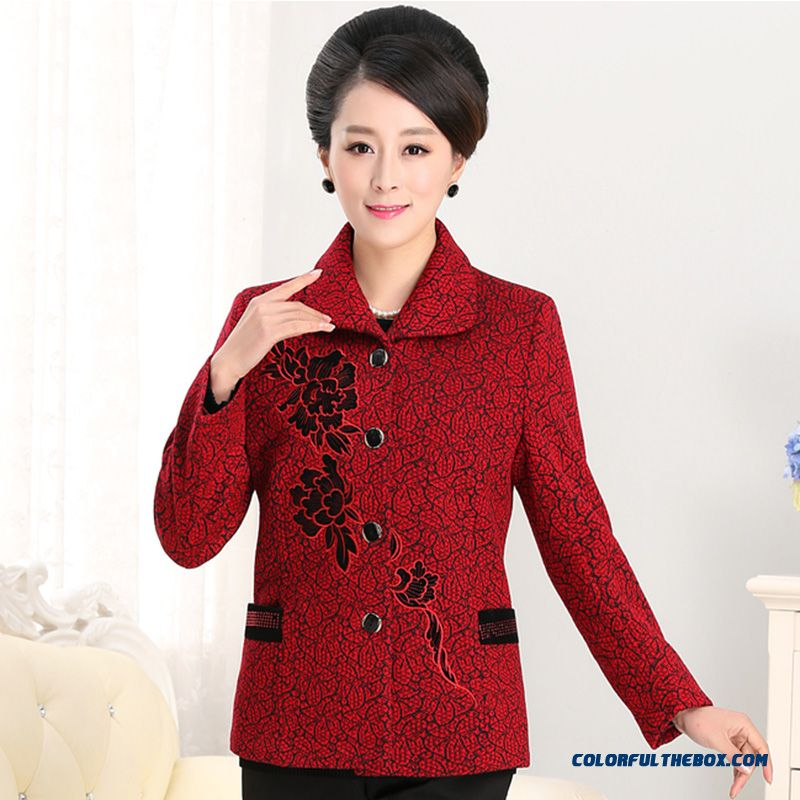 New Listing 50-60 Years Old Middle-aged Women Mother Clothing Coat Short  Jackets ... 30c03865a0
