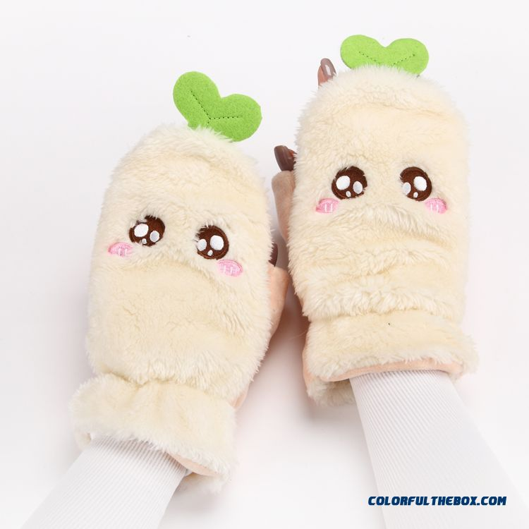 New Listing Design For Girl Women Lovely Cartoon Thick Plush Warm Touch Screen Mittens Gloves