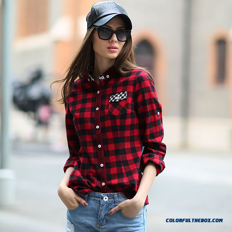 New Listing Fashion Slim Hit Color Stitching Casual Long-sleeved Plaid Shirt Women Prefer Spring & Autumn Blouses