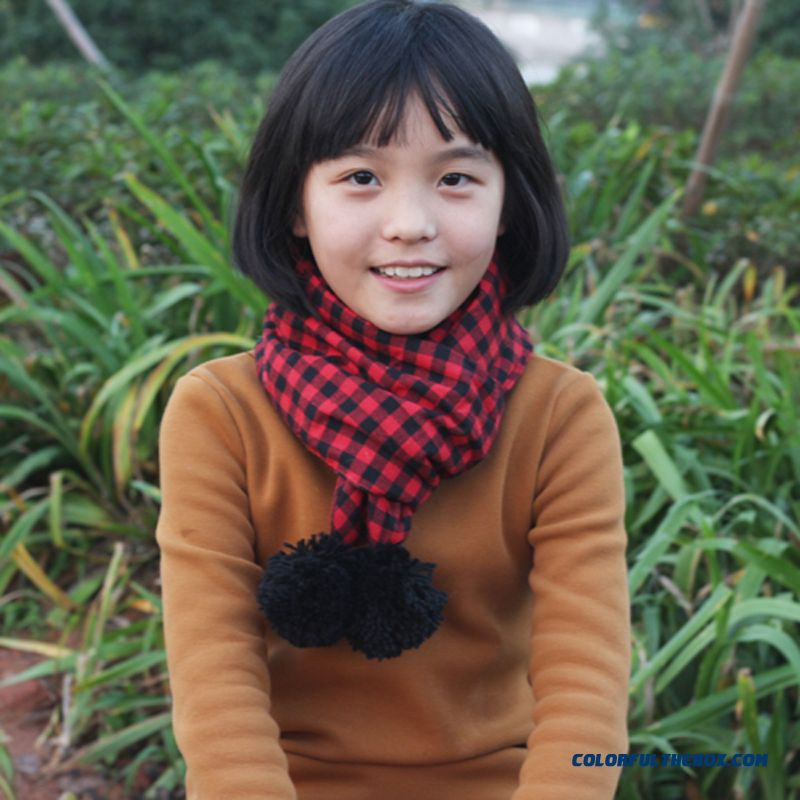 New Little Girls Warm Quilted Neck Scarves With Hairball Kids' Accessories For Kids 2-8 Years