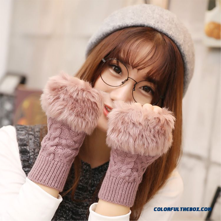 New Long Style Half-finger Mittens Lovely Plush Knitting Wool Girl Gloves For Women