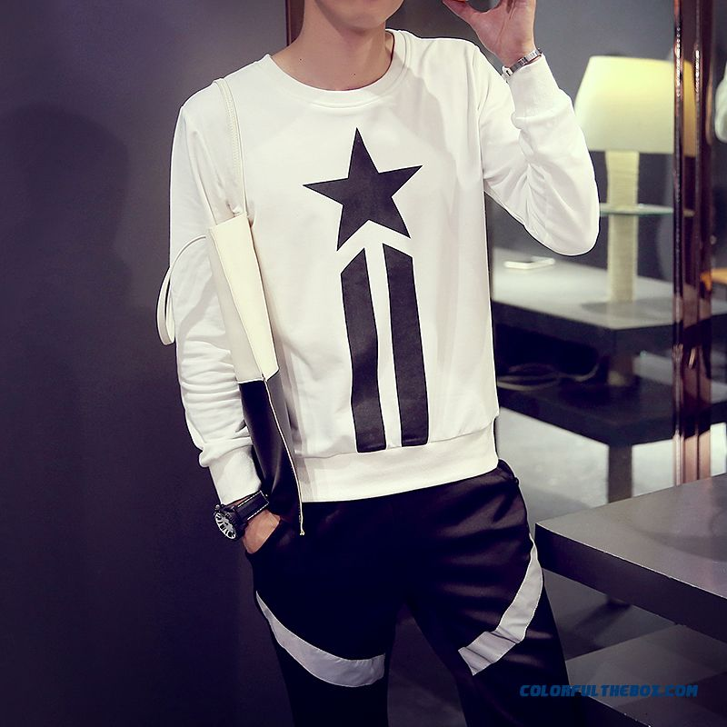 New Long-sleeved Cotton Five-pointed Star Printing Men's Clothing Round Neck Sweatshirts