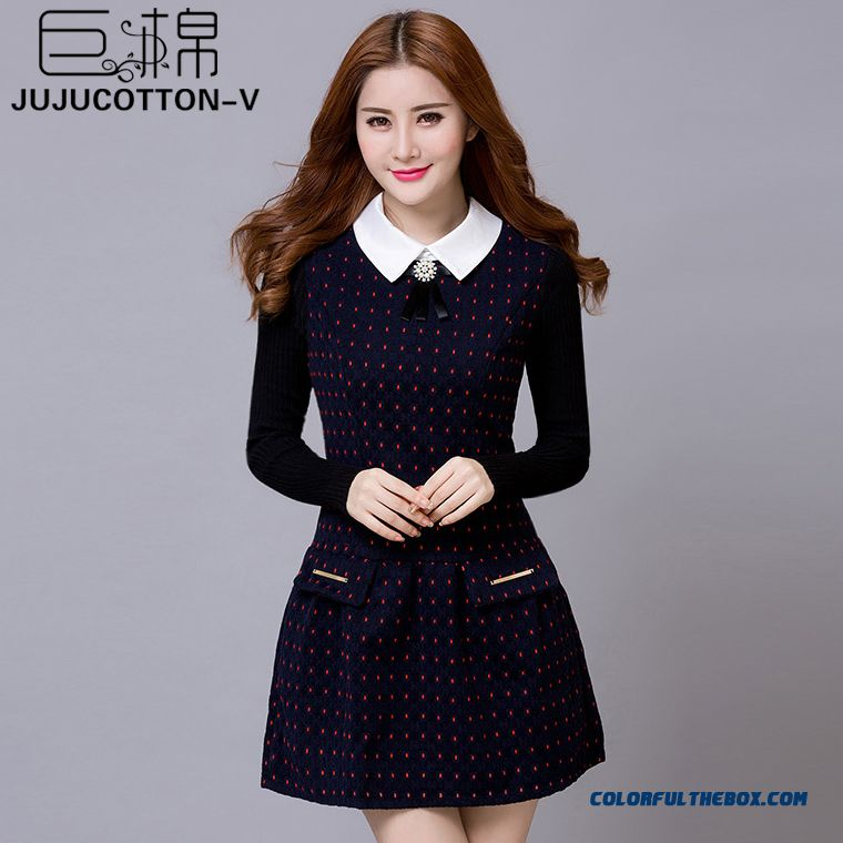 New Long-sleeved Woolen Stitching Polka Dot Slim Free Shipping
