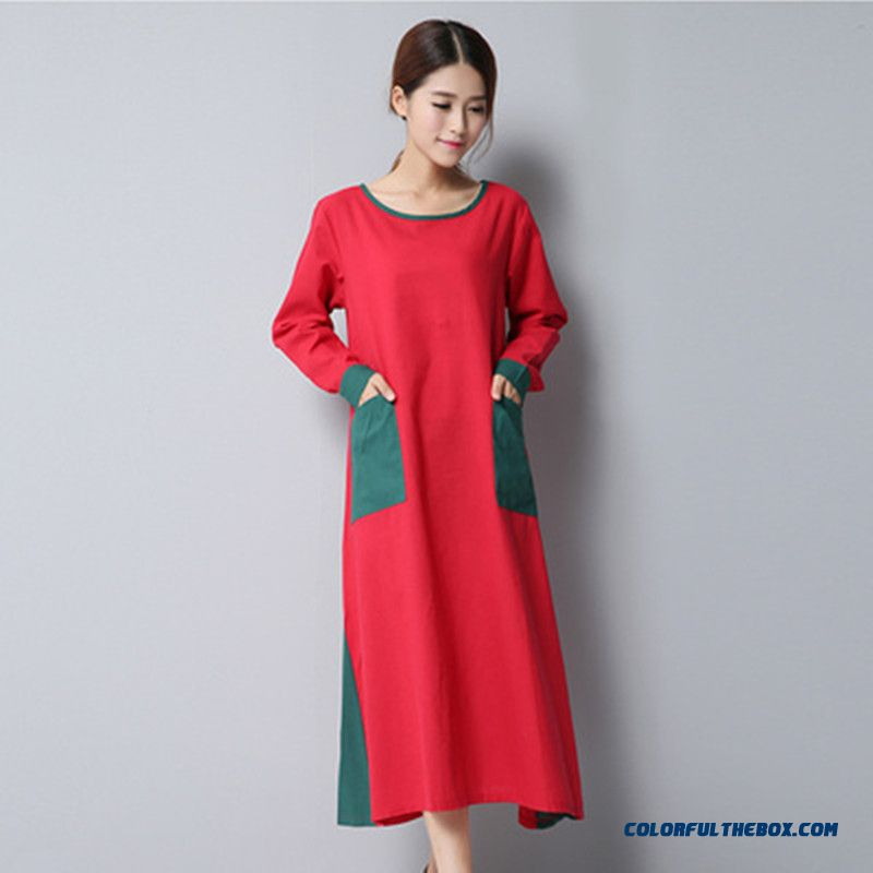 New Loose Large Size Thin Long-sleeved Cotton Women Dress Fashion Slim