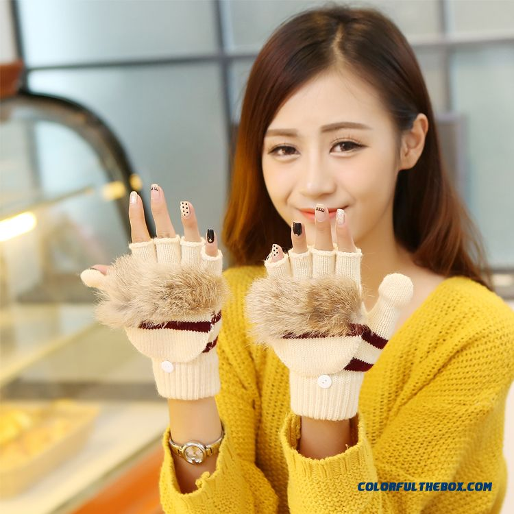 New Men And Women Winter Half-finger Clamshell Touch Screen Mittens Student Lovely Wool Gloves - more images 1