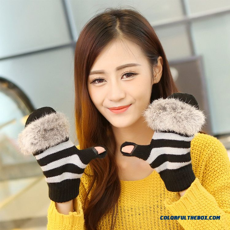 New Men And Women Winter Half-finger Clamshell Touch Screen Mittens Student Lovely Wool Gloves - more images 2