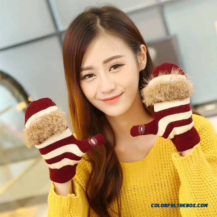 New Men And Women Winter Half-finger Clamshell Touch Screen Mittens Student Lovely Wool Gloves - more images 3