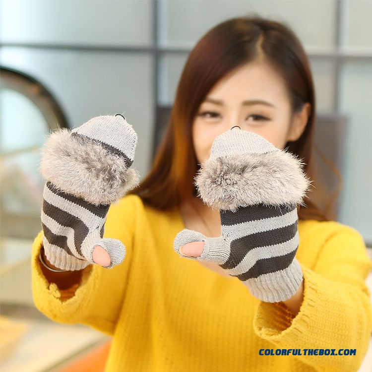 New Men And Women Winter Half-finger Clamshell Touch Screen Mittens Student Lovely Wool Gloves - more images 4