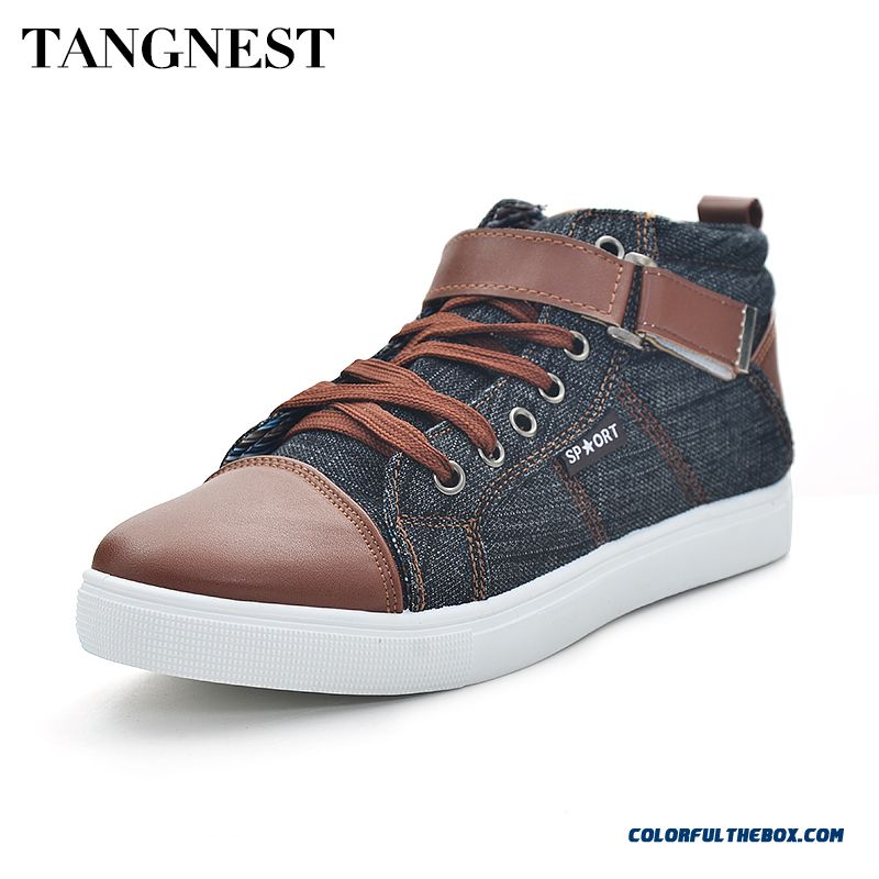 New Men Casual Shoes Fashion Patchwork Men Flats British Style High Top Shoes Man Canvas Shoes Size 39-44