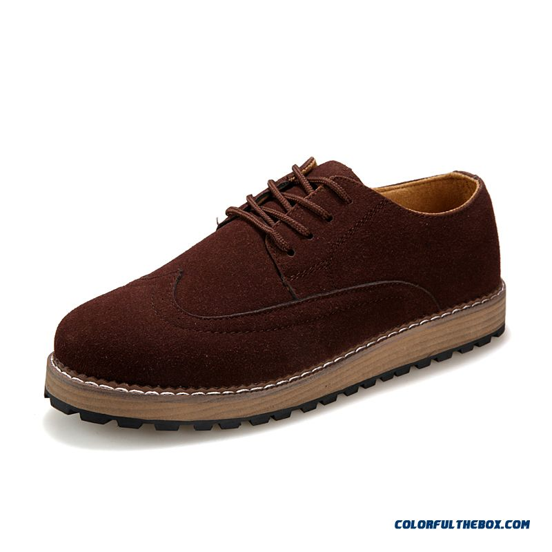 New Men Casual Shoes Suede Thick Bottom Carved Fashion