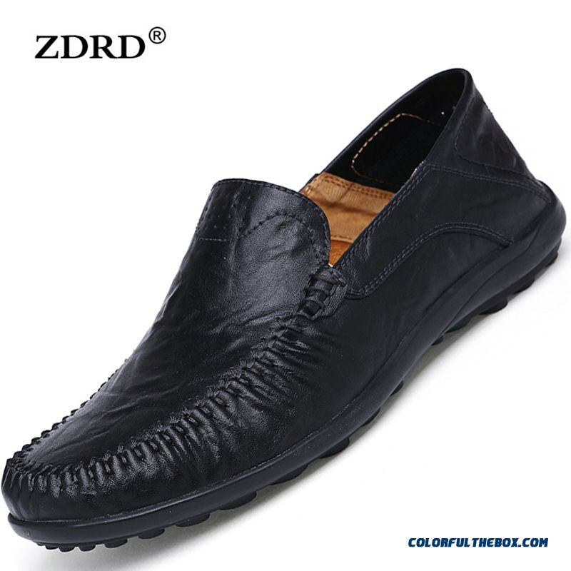 New Men Flats Loafers Shoes Black Genuine Leather Mens Fashion Shoes Casual Breathable Male Driving Shoes Flats Loafers