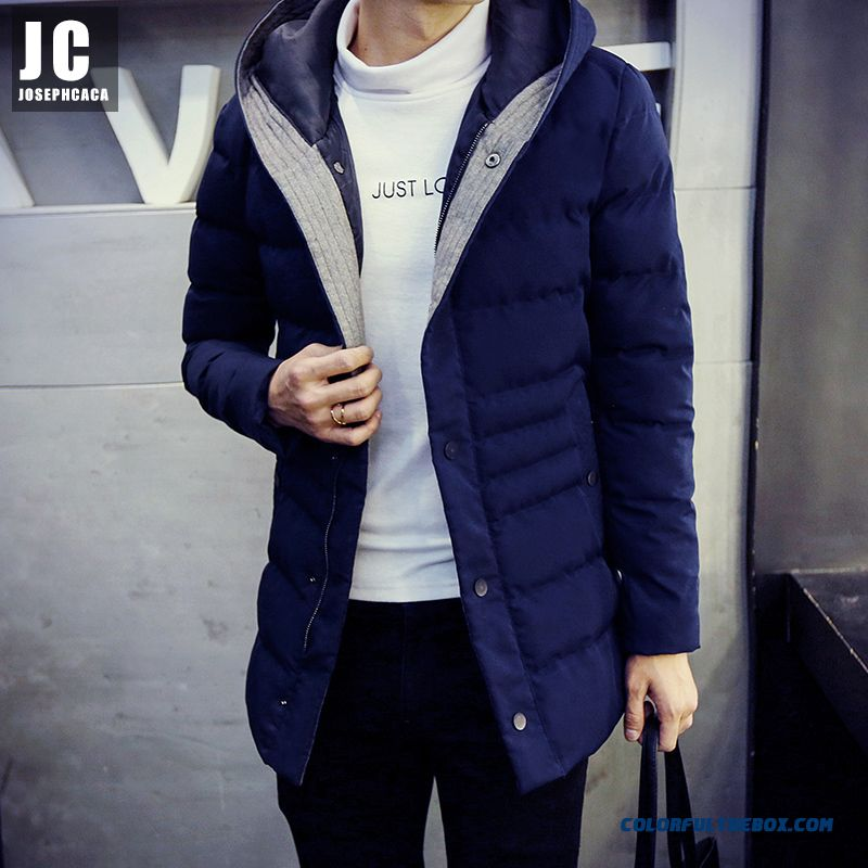 New Men Hooded Winter Coat Slim Casual Long Section Thick Warm Medium Style