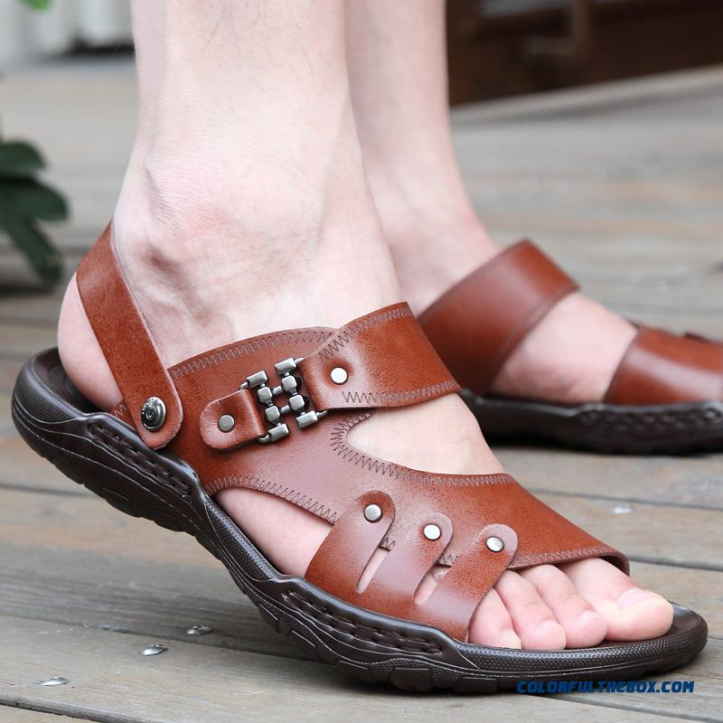 New Men Summer Sandals Leather Open Toe Beach Breathable Shoes Tide - more images 2
