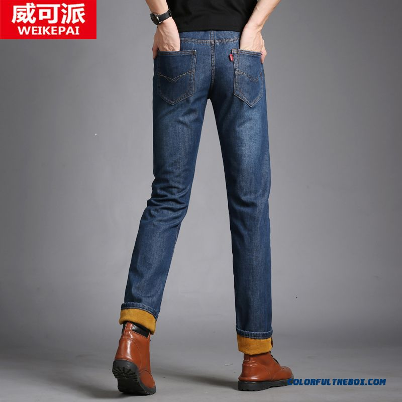 New Men's Casual Straight Slim Jeans Plus Velvet Large Size Long Style
