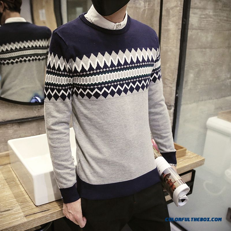 New Men's Clothing Bottoming Knitwear Slim Hit The Color Round Neck Sweaters